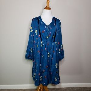 Old Navy Tunic Babydoll Dress Teal Long Sleeved